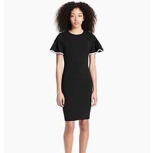 NWT Calvin Klein Piped Sleeve Dress Black Size 10